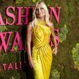 Donatella Versace lors de la soirée des Green Carpet Fashion Awards au théâtre La Scala à Milan, Italie, le 23 septembre 2018.