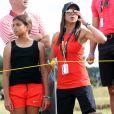 Erica Herman avec ses filles Sam et Charlie lors de l'Open Championship auquel a participé Tiger Woods. Le 22 juillet 2018.