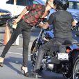 Johnny Hallyday et sa femme Laeticia sont allés se promener en moto aux alentours de Los Angeles, le 27 septembre 2014.