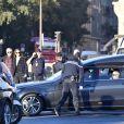 Arrivée de la voiture funéraire à l'hommage national à Charles Aznavour à l'Hôtel des Invalides à Paris, France, le 5 octobre 2018.