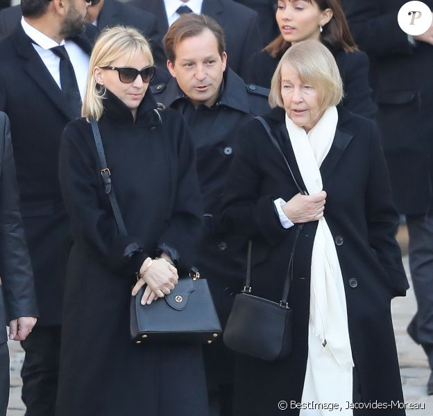 Ulla Aznavour, son fils Mischa et sa fille Katia - Arrivées à l'hommage national à Charles Aznavour à l'Hôtel des Invalides à Paris. Le 5 octobre 2018 © Jacovides-Moreau / Bestimage