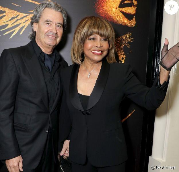 """Tina Turner et son époux Erwin Bach - Présentation à la presse de la comédie musicale """"Tina: The Tina Turner Musical"""" au théâtre Aldwych à Londres, le 17 avril 2018."""