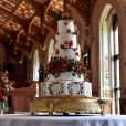Illustration du wedding cake, créé par Sophie Cabot, pour le mariage de La princesse Eugenie et son mari Jack Brooksbank le 12 octobre 2018.  The wedding cake created by Sophie Cabot for the wedding of Princess Eugenie to Jack Brooksbank seen in St. George's Hall at Windsor Castle.12/10/2018 - Windsor