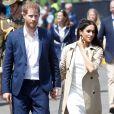 """Le prince Harry, duc de Sussex et sa femme Meghan Markle, duchesse de Sussex (enceinte) arrivent sur la jetée """"Man o' War Steps"""" à Sydney au Austraile lors de leur premier voyage officiel, le 16 octobre 2018."""