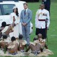 Le prince Harry, duc de Sussex et sa femme Meghan Markle, duchesse de Sussex (enceinte) lors d'une cérémonie aux îles Fidji dans le cadre de leur voyage officiel, le 23 octobre 2018.