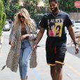 Exclusif - Khloé Kardashian et son compagnon Tristan Thompson sont allés déjeuner en amoureux au restaurant Benihana à Calabasas, le 18 juillet 2018.