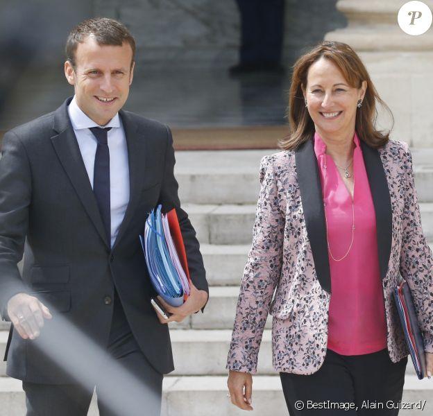 Ségolène Royal, Emmanuel Macron à la sortie du conseil des ministres, le dernier avant les vacances, au palais de l'Elysée à Paris, le 3 août 2016. © Alain Guizard/Bestimage