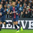 Marco Verratti et Neymar lors du match de football de ligue 1 opposant le Paris Saint-Germain (PSG) à l'Olympique de Marseille (OM) au stade Vélodrome à Marseille, France, le 28 octobre 2018. Le PSG a gagné 2-0. © Lionel Urman/Bestimage
