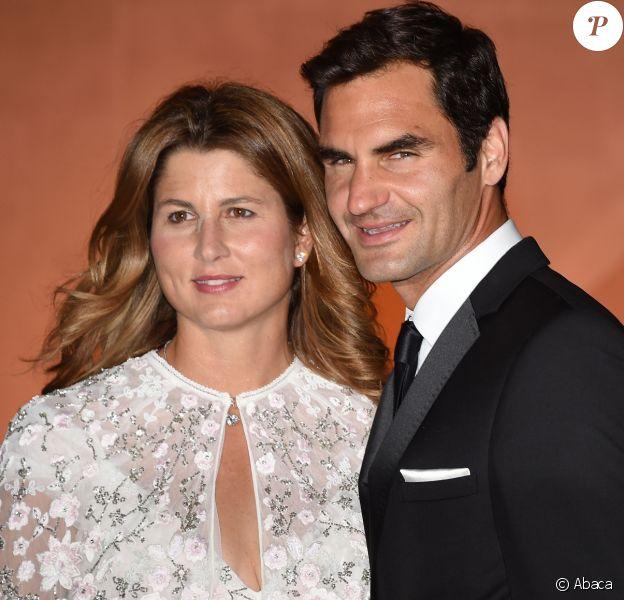 Roger Federer et sa femme Mirka - Dîner des champions du tournoi de Wimbledon à Londres le 16 juillet 2017.