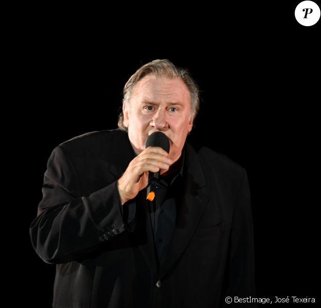 """Exclusif - Gérard Depardieu chante """"Barbara"""" sur la scène du palais des congrès Atlantia en pré-ouverture du 5ème festival du cinéma et musique de film de la Baule le 3 novembre 2018.  © José Texeira/Bestimage"""