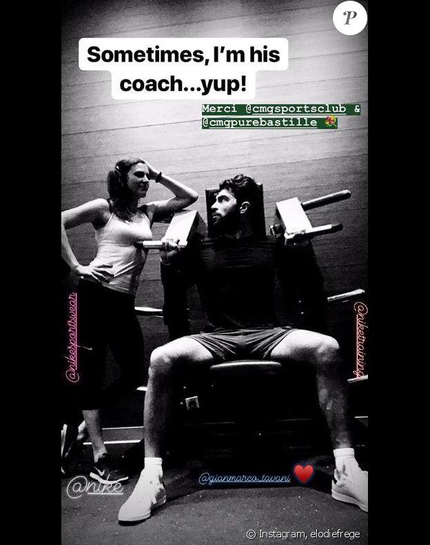 Elodie Frégé au sport avec Gian Marco. Story Instagram le 15 novembre 2018.