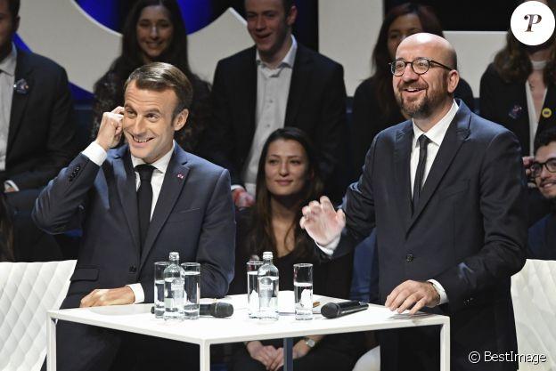 Le président Emmanuel Macron, le premier ministre de la Belgique Charles Michel - Le président de la République française lors d'une conférence-débat sur l'Europe à l'université de Louvain-La-Neuve en présence du premier ministre de la Belgique le 20 novembre 2018.