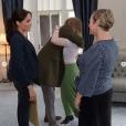 Eva McGauley lors de sa rencontre avec Meghan Markle et le prince Harry à Wellington, le 30 octobre 2018.