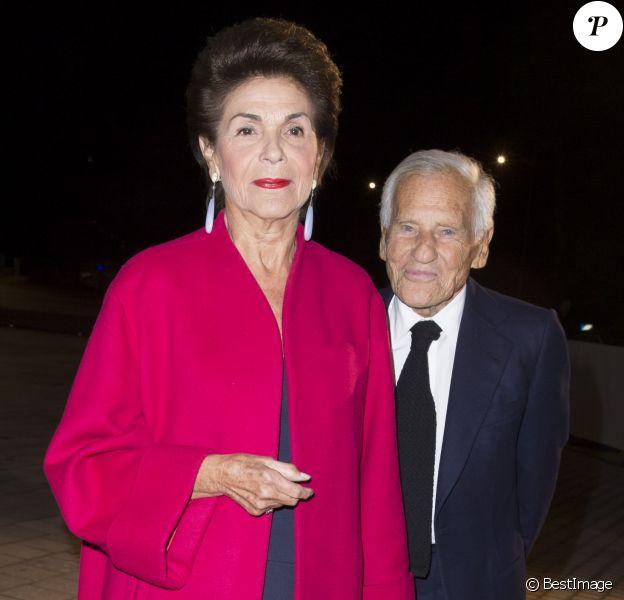 Jean d'Ormesson et sa femme Françoise Beghin - Inauguration de la Fondation Louis Vuitton à Paris le 20 octobre 2014.