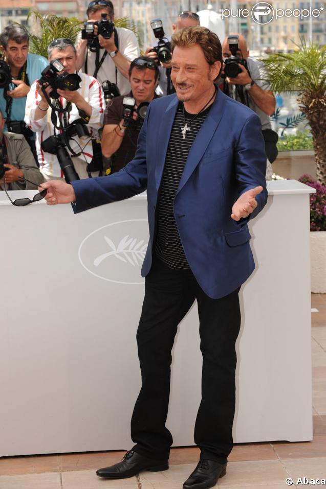 Johnny Hallyday lors du photocall de Vengeance, Festival de Cannes, le 17 mai 2009