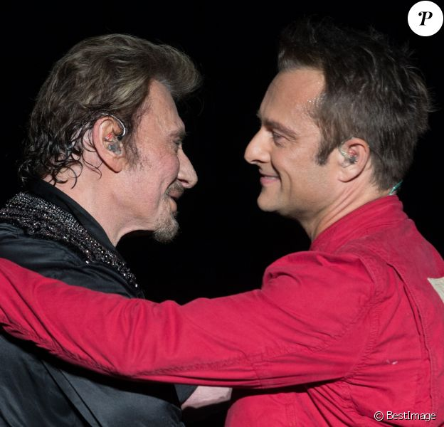 Exclusif - David Hallyday et Johnny Hallyday en concert au POPB de Bercy à Paris, le 15 juin 2013