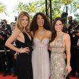 Doutzen Kroes, Afef Jnifen et Evangeline Lilly étaient de sublimes ambassadrices de l'Oréal, lors de la montée des marches avant la projection de Vengeance, au Festival de Cannes, le 17 mai 2009