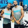 Tony Parker et Nicolas Batum, nouvelle recre des Charlotte Hornets. Le 30 août 2018.