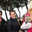 Daniel Ducruet, venu avec sa compagne Kelly, sa mère Maguy et sa fille Linoué, pour encourager sa fille Pauline Ducruet (qui a ici Linoué dans les bras) lors du départ de celle-ci pour le Rallye Aïcha des Gazelles le 17 mars 2018 à Monaco. © Bruno Bebert/Bestimage
