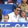 Daniel Ducruet et ses enfants Pauline et Louis en avril 2003 au tournoi de tennis de Monte-Carlo.
