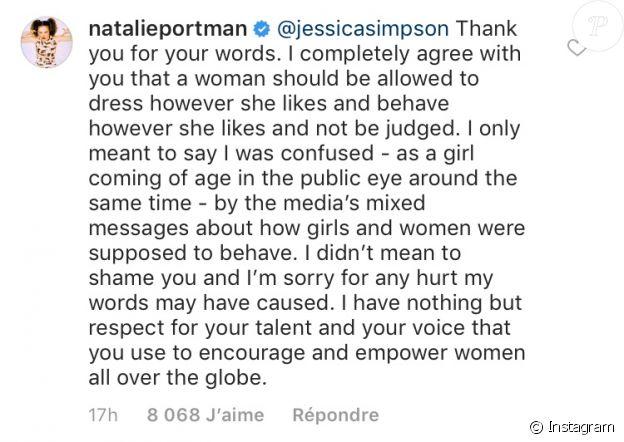 Natalie Portman répond à Jessica Simpson sur Instagram le 5 décembre 2018.