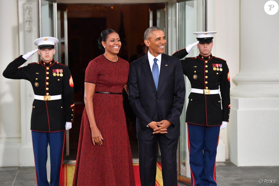 Michelle et Barack Obama à la Maison-Blanche, avant l'investiture de Donald Trump, 45e président des Etats-Unis. Washington, le 20 janvier 2017.