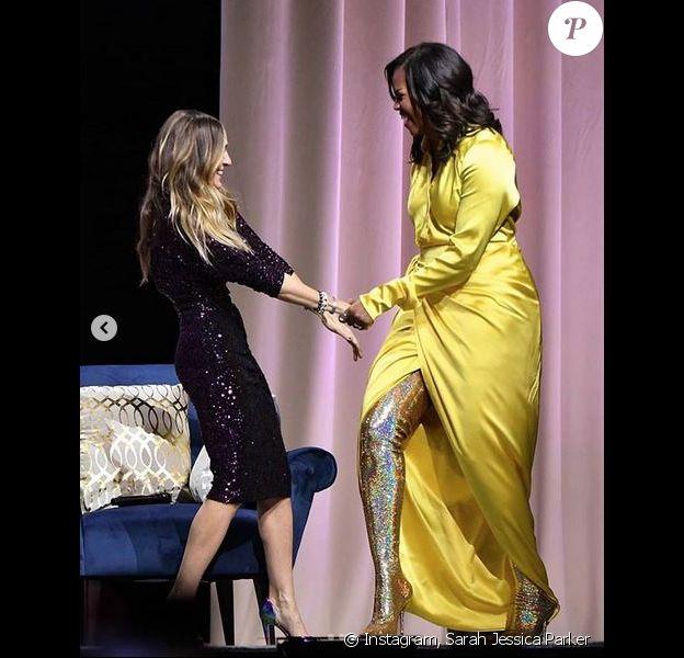 Sarah Jessica Parker et Michelle Obama au Barclays Center à Brooklyn. Décembre 2018.