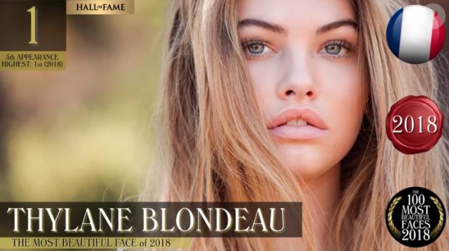 """Thylane Blondeau a été élue """"plus beau visage de l'année 2018"""" par TC Candler."""