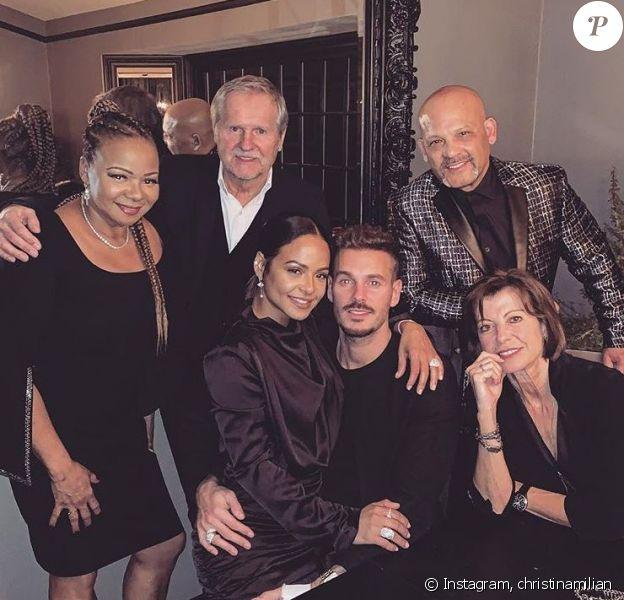 Christina Milian pose avec ses parents ainsi que ceux de son chéri M. Pokora, à Los Angeles, le 31 décembre 2018