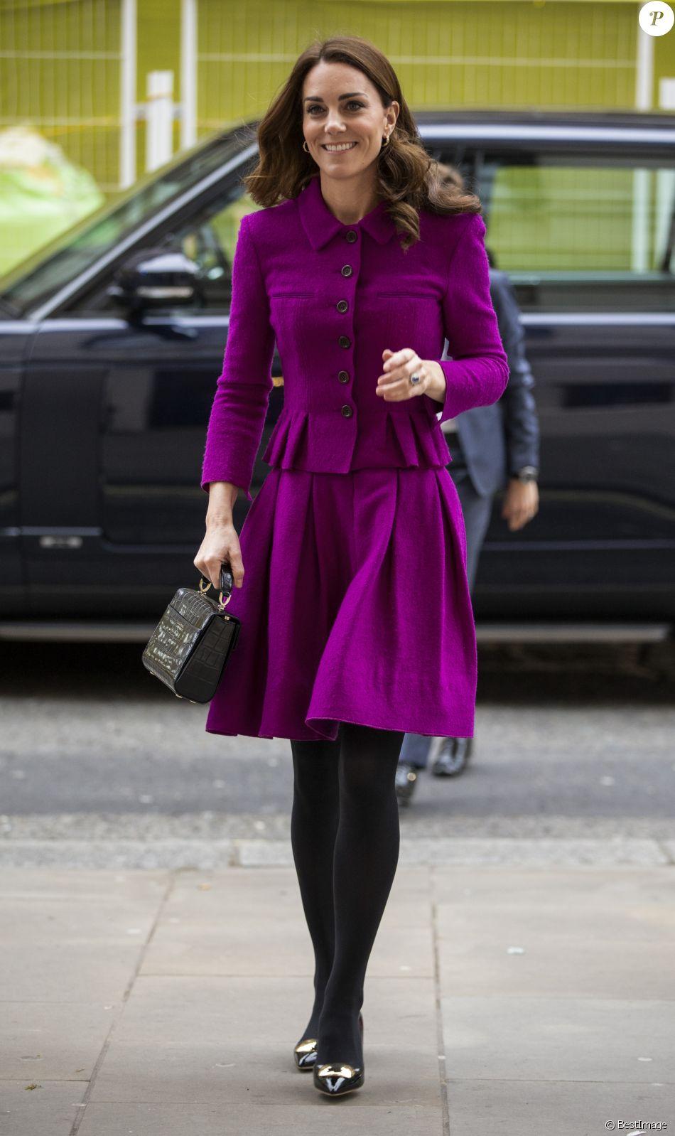 Kate Catherine Middleton, duchesse de Cambridge, arrive à la Royal Opera House à Londres, pour visiter le département costumes, le 16 janvier 2019.