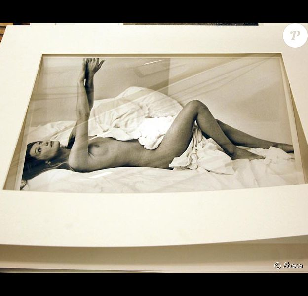 La photo de Carla-Bruni Sarkozy présentée pour la vente aux enchères à Berlin le 4 juin...