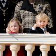 La princesse Gabriella et le prince Jacques - La famille princière de Monaco au balcon du palais lors de la fête nationale monégasque, à Monaco. Le 19 novembre 2018. © Dominque Jacovides / Bestimage
