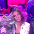 """Francesca Antoniotti reçoit un message de son ex-mari, l'ex-footballeur Alain Masudi, sur le plateau de """"TPMP - La grande régalade"""" sur C8 le vendredi 18 janvier 2019."""