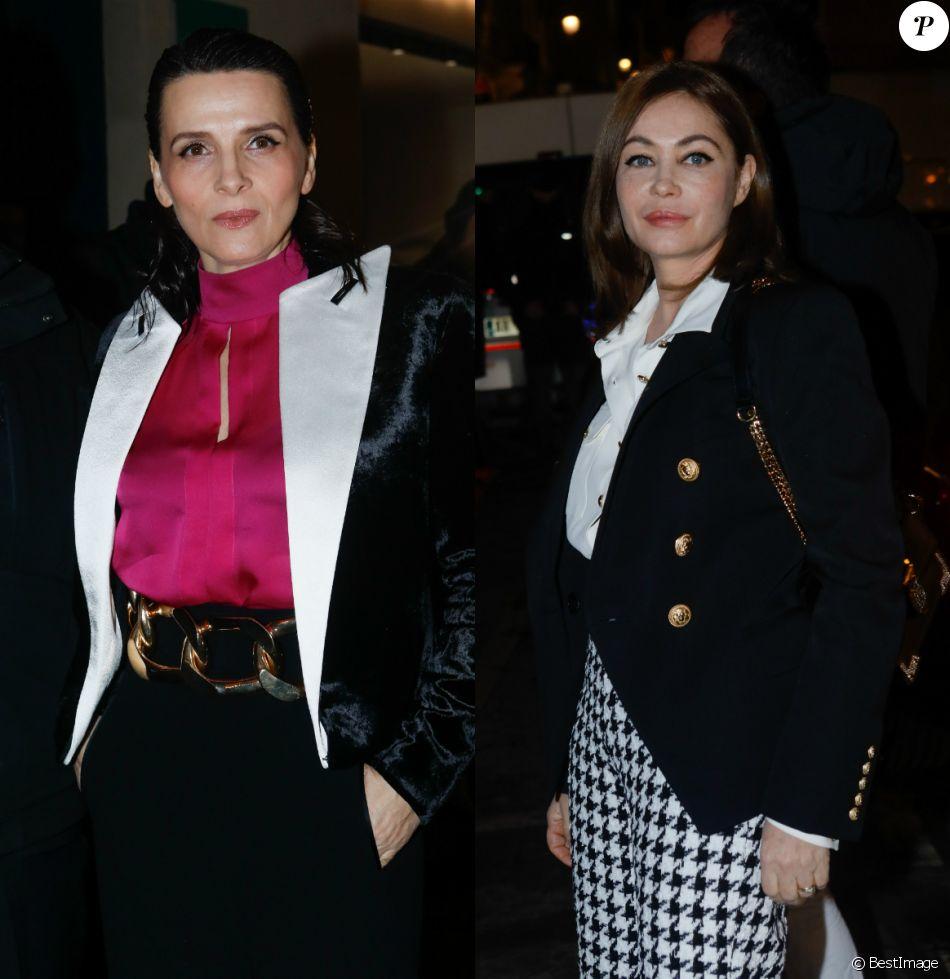 Juliette Binoche et Emmanuelle Béart - Arrivées des people au défilé de mode Haute-Couture printemps-été 2019 Balmain à Paris le 23 janvier 2019.