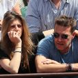 Benjamin Castaldi avec sa femme Aurore Aleman dans les tribunes des Internationaux de France de Tennis de Roland-Garros à Paris le 2 juin 2018. © Jacovides/Moreau/Bestimage