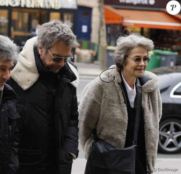 Jean-Luc Monterosso, Jean-Michel Jarre et Charlotte Rampling - Obsèques de Henry Chapier en l'église Notre-Dame des Champs à Paris le 4 février 2019.