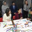 La reine Letizia d'Espagne visitant l'Ecole de la seconde chance à Salé au Maroc le 14 février 2019.