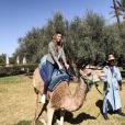 Rachel Legrain-Trapani à Marrakech avec sa copine Malika Ménard après sa rupture avec Benjamin Pavard, depuis le 19 février 2019. Ici sur un chameau.