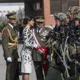 La reine Letizia d'Espagne présidait à la cérémonie de remise du drapeau national au régiment parachutiste d'infanterie Naples n°4 à Paracuellos del Jarama le 23 février 2019.