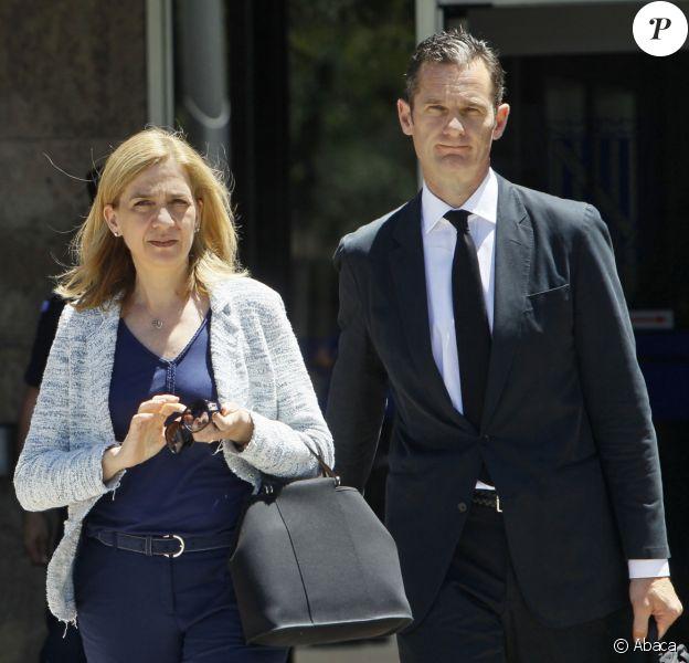Cristina d'Espagne et Iñaki Urdangarin au tribunal de Palma de Majorque le 22 juin 2016 dans le cadre du procès Noos.
