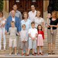 La famille royale d'Espagne en vacances à Palma de Majorque en août 2007.