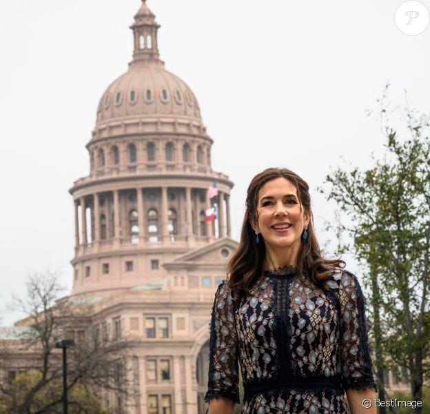 La princesse Mary de Danemark en visite le 11 mars 2019 aux Etats-Unis à Austin, au Texas, dans le cadre d'une mission économique de trois jours axée notamment sur le développement durable, la gastronomie, la mode et le design.