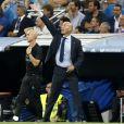 """Zinedine Zidane. Finale de la Supercoupe d'Espagne """"Real Madrid - FC Barcelone"""" au stade Santiago Bernabeu à Madrid, le 16 août 2017. Le Real Madrid s'est imposé 2 à 0."""