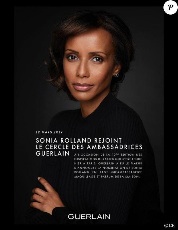 Communiqué de presse de Guerlain annonçant la nomination de Sonia Rolland en tant qu'ambassadrice maquillage et parfum - 19 mars 2019