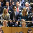 Tiffany Trump, Ivanka Trump, Jared Kushner, Lara Trump, Eric Trump en tribune lors de l'intervention du président Donald Trump pour la 73ème session de l'Assemblée générale à l'ONU à New York le 25 septembre 2018. © Morgan Dessalles / Bestimage