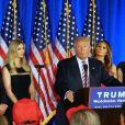 Ivanka Trump et son mari Jared Kushner, Melania Trump - Donald Trump s'adresse à ses supporters et aux médias pendant un meeting à Briarcliff Manor, le 7 juin 2016. © Agence/Bestimage
