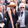 Inès de la Fressange et Karl Lagerfeld à Monaco, le 2 juillet 2011.