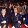 Jacques et Bernadette Chirac en meeting pour l'élection présidentielle, le 30 avril 1988.