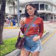 Agathe Auproux, atteinte d'un cancer, profite du soleil de Miami en avril 2019.