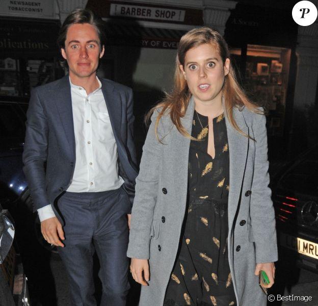 La princesse Beatrice d'York et son compagnon Edoardo Mapelli Mozzi ont passé la soirée à Chiltern Firehouse, à Londres, le 4 avril 2019.